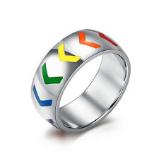 Gay and Lesbian LGBT Pride Stainless Steel Ring Rainbow Arrows Band for Him Her