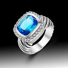 Retro Vintage Charm Woman Jewelry Blue Topaz S80 Silver Ring size 7 8 9