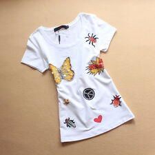 Ax_couture Women's Love Peace Symbol Moschino Butterfly T-shirt Black & White