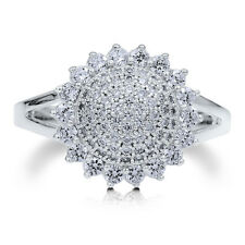 BERRICLE Sterling Silver CZ Flower Fashion Right Hand Split Shank Ring
