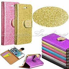 Shiny Luxury Leather Magnetic Flip Bling Wallet Stand Cover Case For iPhone 5 5S