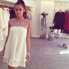 Elegant Women Ladies Chiffon Dress Round Neck Ruffle Hem Sleeveless Casual Dress