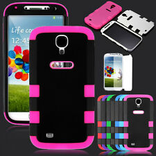 Hybrid Rugged Rubber Hard Matte Case Cover For Samsung Galaxy S4 IV i9500 + Film