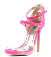 Glee-91 Black Pink Yellow Clear Band Open toe Strappy Sandal Stiletto Heel
