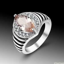 Vintage Beautiful Jewelry Morganite S80 Silver Gemstone Ring size 7 8 9