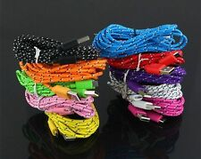 Brand New Braided Fabric Micro USB Charger Cable Data & Sync Cord For Cell Phone