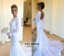 Sexy Mermaid Backless Lace Wedding Dresses Long Sleeve Bridal Gowns Custom Size