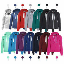 Womens Ladies Plain Hoodie Fleece Sweatshirt Hooded Coat Hoody Zip Jacket Top