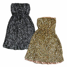 Tommy Hilfiger Womens Strapless Sequin Dress Party Dress Gold Silver Fancy V099