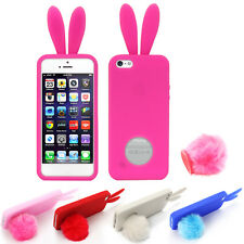 For Apple iPhone 5 5S Silicone Bunny Rabbit Fluffy Tail Stand Rubber Case Cover
