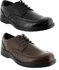MENS HUSH PUPPIES TORPEDO BLACK TEAK LEATHER EXTRA WIDE LACE UP WORK MEN'S SHOES