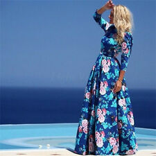Women's Ladies Vintage Floral Chiffon Long Sleeve Maxi Party Cocktail Prom Dress