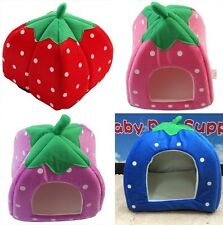 Pets Dog Cat Cute Strawberry Bed House Kennel Doggy Soft Warm Cushion Basket 6L