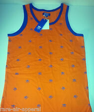 ADIDAS STAMPED TREFOIL ALL OVER ORANGE/BLUE MENS TANK TOP tee T-SHIRT