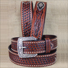 WESTERN ARIAT  MENS BELT CONCHOS LEATHER SANDS ANTIQUE BROWN 32-46 inches