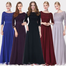 Women's 3/4 Sleeve Lace Bridesmaid Wedding Dress Formal Cocktail Prom Gown 08412