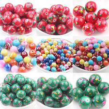 5/50Pcs Mixed Round Glass Loose Spacers Painted Charm Beads Jewelry DIY 6 14mm