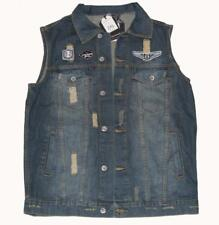 Victorious Denim Patched Distressed G-Squadron Wings Vest MNS MSRP $129 NWT