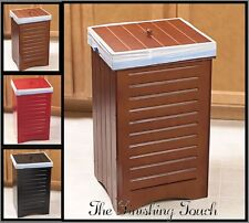 NEW INDOOR WOODEN KITCHEN GARBAGE TRASH CAN BIN w LID BLACK MAPLE RED WOOD HOME