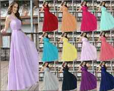 Long Chiffon Lace Formal Evening Party Ball Gown Prom Bridesmaid Dress Size 6-18