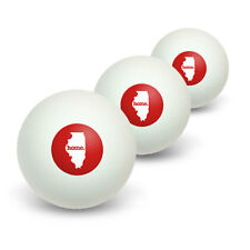 Illinois IL Home State Table Tennis Ping Pong Ball 3 Pack
