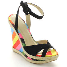 Wild Diva MADISON-172 New Women Multi Open Toe Strappy Platform Dress Wedges