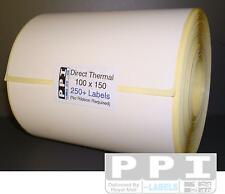 100 x 150 , 25 mm Core Plain White Blank DIRECT THERMAL ROLL Labels 250 Per Roll