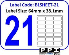 Plain White Blank Address Labels, 21 Per Page / A4 Sheet 21 Up 21TV : BLSHEET-21