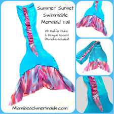 "Swimmable Mermaid Tail W/ Monofin ""Aqua Summer Sunset"""