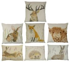 FILLED EVANS LICHFIELD LINEN MADE IN THE UK RURAL CUSHION STAG FOX DOG HARE FAWN