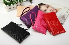Women Ladies Clutch Faux Leather Stone Pattern Purse Coin Card Holder Wrist Bag