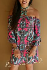 """PLUS SIZE ON or OFF SHOULDER PINK """"CLEMENTINE"""" PAISLEY MINI DRESS TUNIC 1X 2X 3X"""