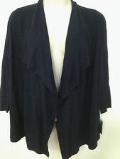 NEW Alfani Womens Plus Sizes Navy Draped Ribbed 3/4 Sleeve Cardigan Sweater Top