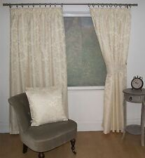 JACQUARD FLORAL DAMASK CREAM LINED PENCIL PLEAT CURTAINS *10 SIZES*