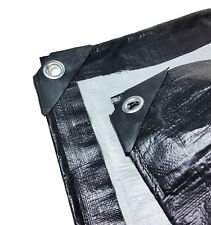 Black Silver Heavy Duty Waterproof Tarpaulin 270GSM Ground Sheet Tarp Cover