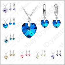 Fine Austrian Crystal 925 Sterling Silver Heart Hoop Earring Necklace Bridal Set