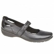 Mod Comfys Womens Ladies Soft Leather Velcro Mary Jane Flat Comfort Shoes Black