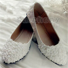 White lace satin pearls flower wedge Wedding flats shoes Bridal heels size 6-10