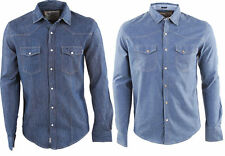 Mens Soul Star Designers Denim Press Stud  Shirts - 2 Style