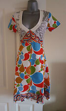 NEW Desigual White Blue Red Multi Abstract Fit and Flare Tunic Tea Dress