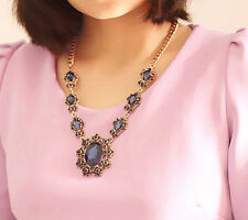 Retro Necklace Chunky Crystal Bib Statement Chain Choker Fashion Womens Jewelry
