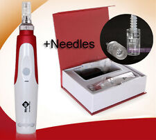 Electric Auto Derma Pen Microneedle Stamp Skin Care Beauty Therapy &100p Needles