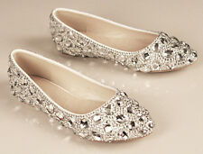 SILVER FLAT Handmade Diamond Rhinestone Wedding Full Toes Women's Shoes