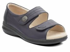 Padders SHORE Womens Ladies Comfy Leather Super EEEE Wide Velcro Sandals Navy