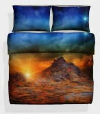 3D Double Size Volcano Photo Print Duvet cover Bed Set Earth Magma Geyser Sky