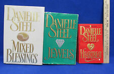 3 Danielle Steel Books Jewels & Mixed Blessings Hardcover Heartbeat Paperback