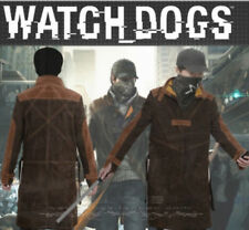 Cos NEW Watch Dogs Aiden Pearce Jacket Trench Coat Leather PS3 PS4 games Costume