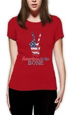4th of July - USA Patriotic American to The Bone Women T-Shirt Peace Sign