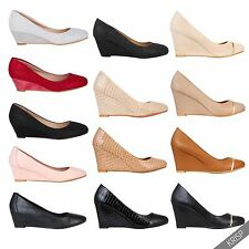 Womens Plain Wedge Court Shoes Low Mid High Heel Slip On Pumps Office US