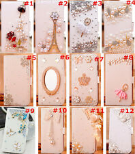 Cute Bling Crystal Diamonds PU leather flip slots book wallet case cover skin #8